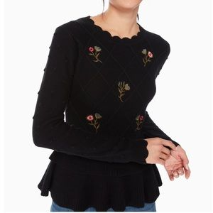 Kate spade embroidered textured sweater